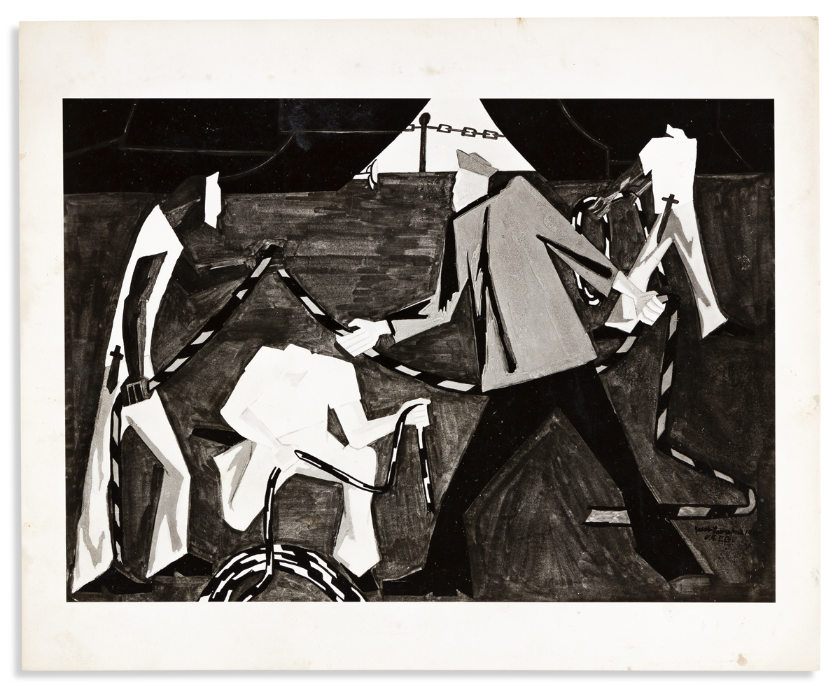 (ART.) Group of 14 photographs of early Jacob Lawrence paintings, most of them now lost.