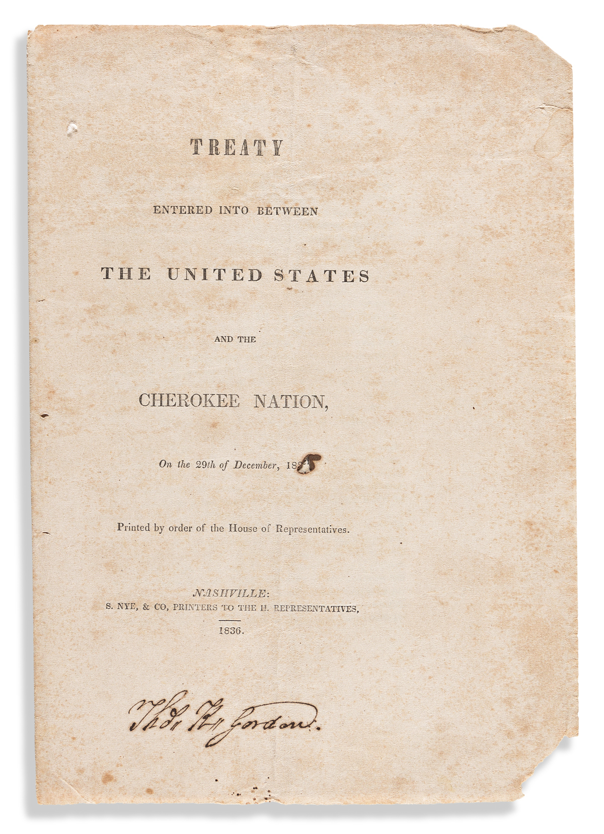 (AMERICAN INDIANS.) Treaty Entered into between the United States and the Cherokee Nation.