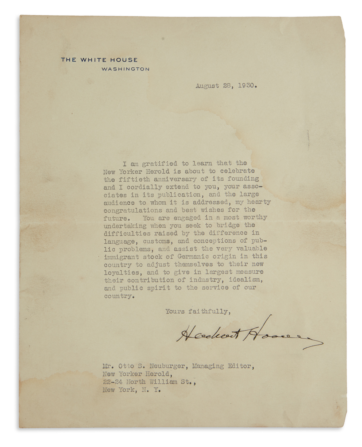 HERBERT-HOOVER-Typed-Letter-Signed-as-President-to-editor-of