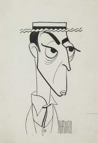 Buster Keaton. Pen and Ink on board. 7x5 inches, signed lower right.