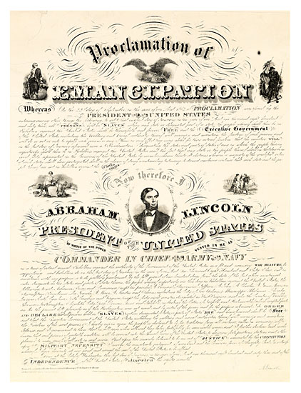 (SLAVERY AND ABOLITION.) LINCOLN, ABRAHAM. Proclamation of Emancipation by the President of the United States.