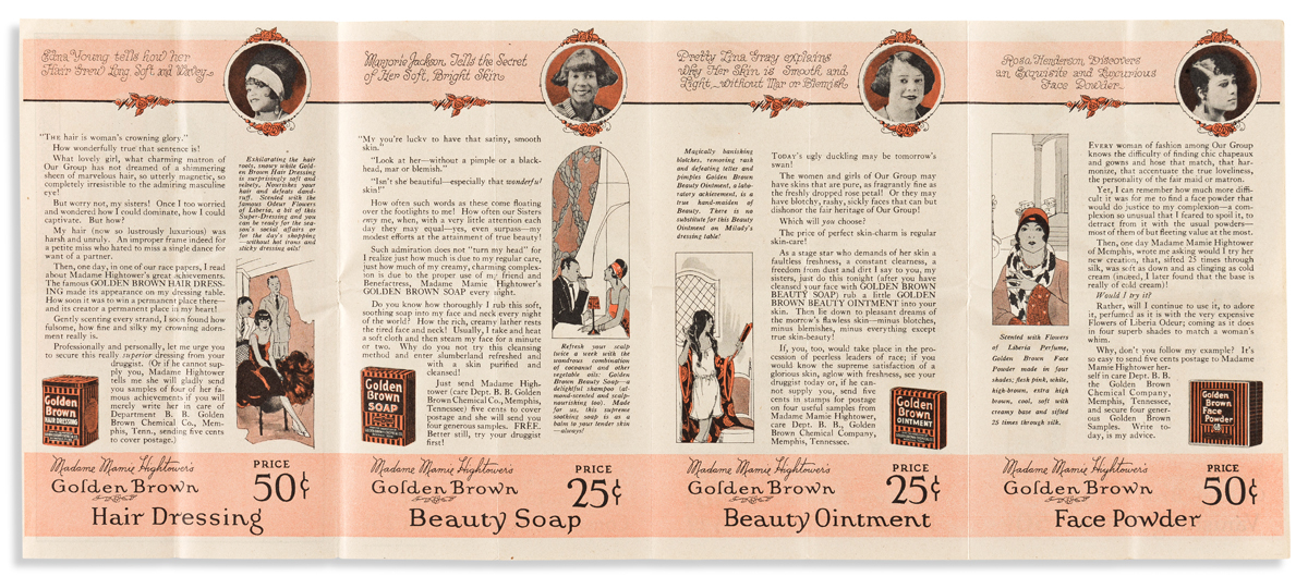(BEAUTY.) Printed portrait and small catalog for Madame Mamie Hightowers Golden Brown Beauty Preparations.