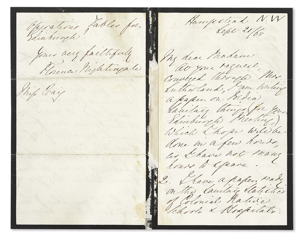 NIGHTINGALE, FLORENCE. Autograph Letter Signed,