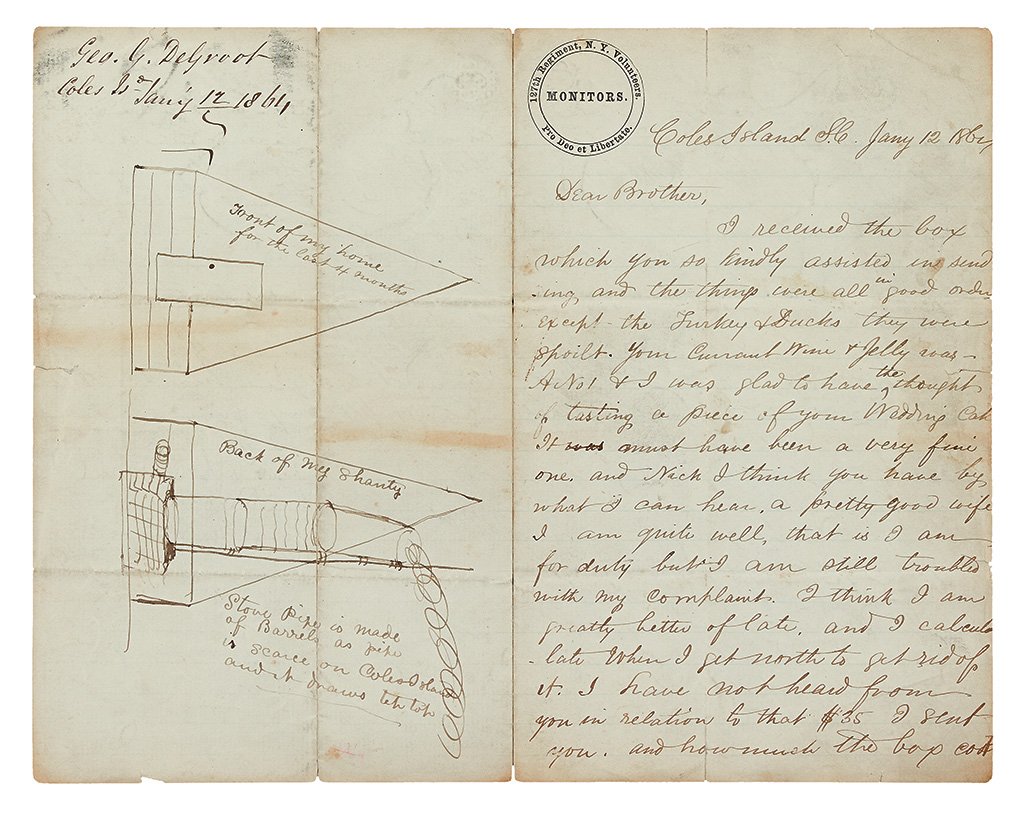 (CIVIL WAR--NEW YORK.) DeGroot, George G. Large archive of letters from a sergeant in the Monitor Regiment.