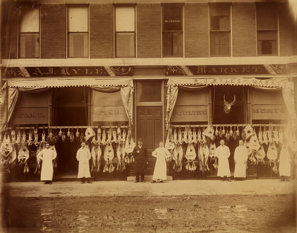 (OCCUPATIONAL--BUTCHERS)-A-large-format-photograph-showing-a