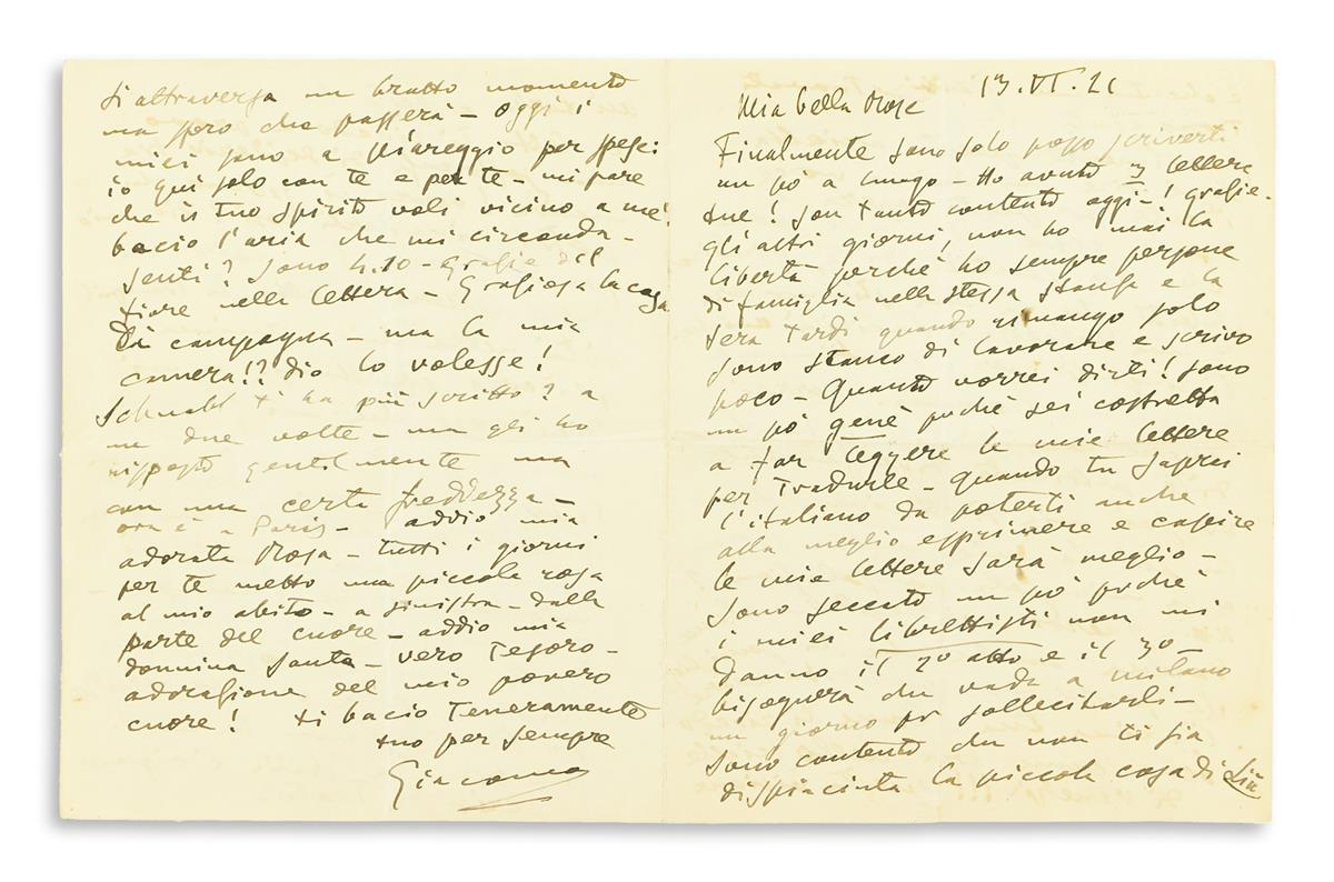 PUCCINI, GIACOMO. Autograph Letter Signed, Giacomo, to Rose Ader (My beautiful Rose), in Italian,