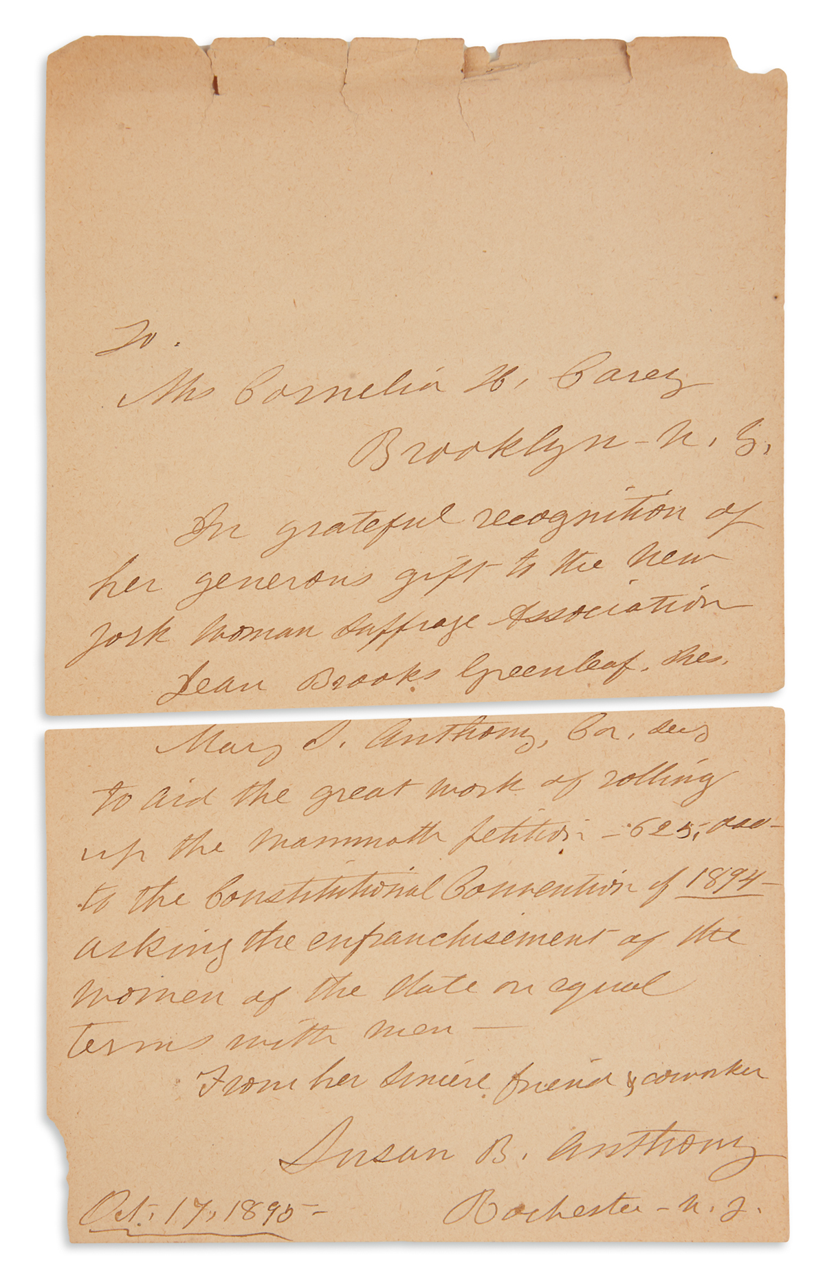 ANTHONY, SUSAN B. Autograph Letter Signed, to Cornelia Hull Cary (Cornelia H. Carey), gratefully recognizing her contribution to the