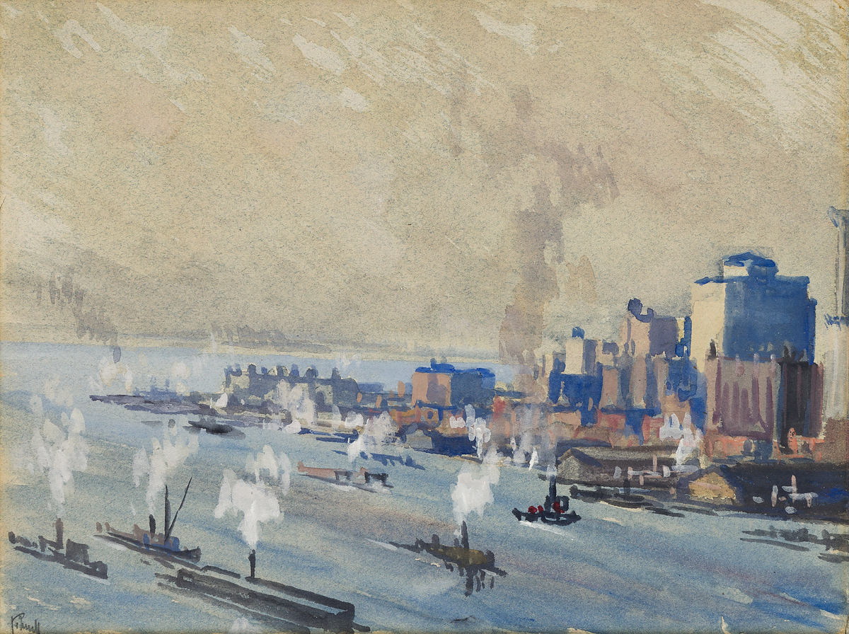 JOSEPH PENNELL Lower Manhattan and New York Harbor.