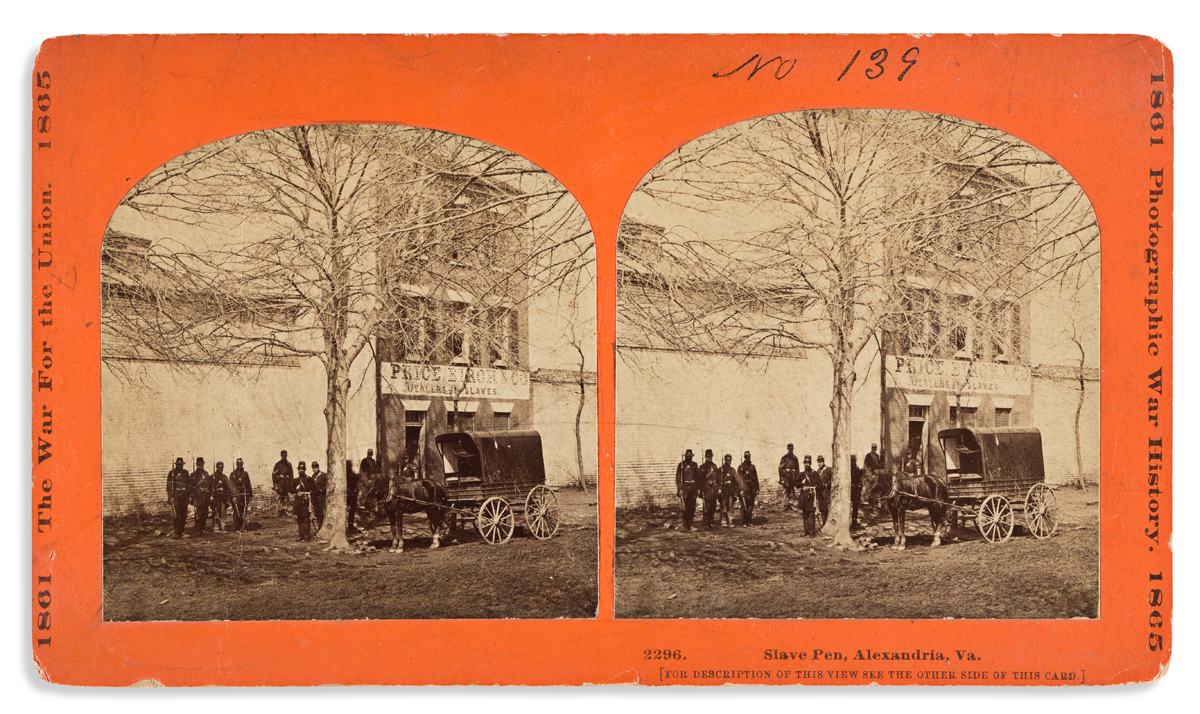 (SLAVERY AND ABOLITION.) Stereoview of the infamous slave pen of Price, Birch & Co., Dealers in Slaves.