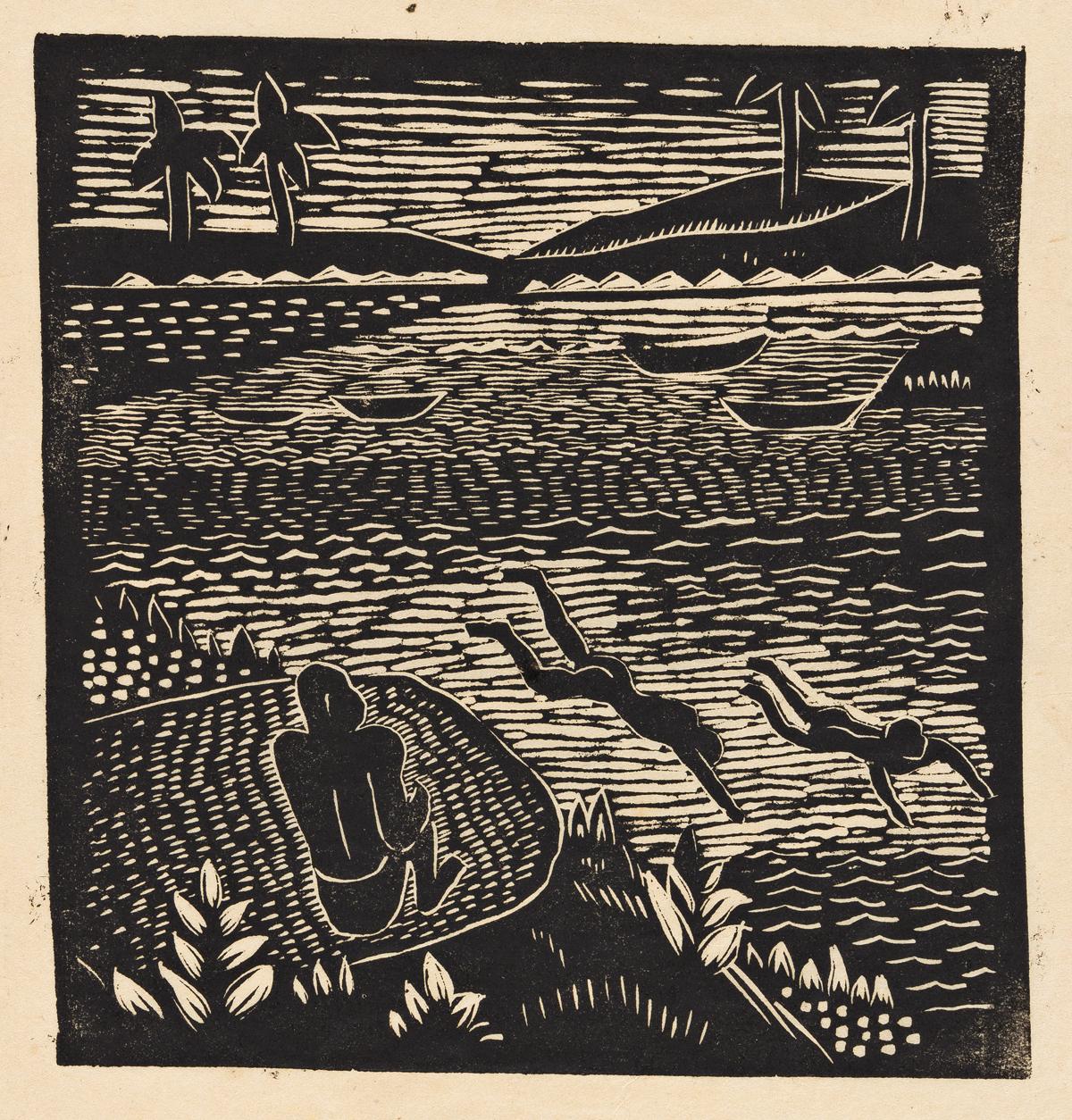 JAMES LESESNE WELLS (1902 - 1992) Group of 5 linoleum cuts.