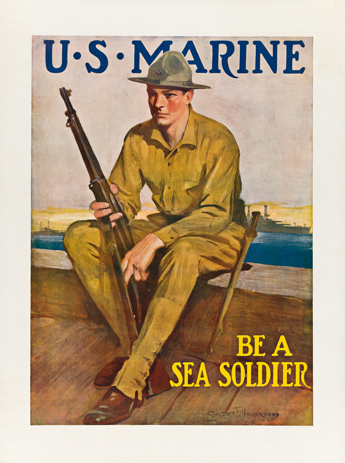 CLARENCE F. UNDERWOOD (1871-1929).  U.S. MARINE / BE A SEA SOLDIER. Circa 1914. 40¼x30 inches, 102¼x76¼ cm.