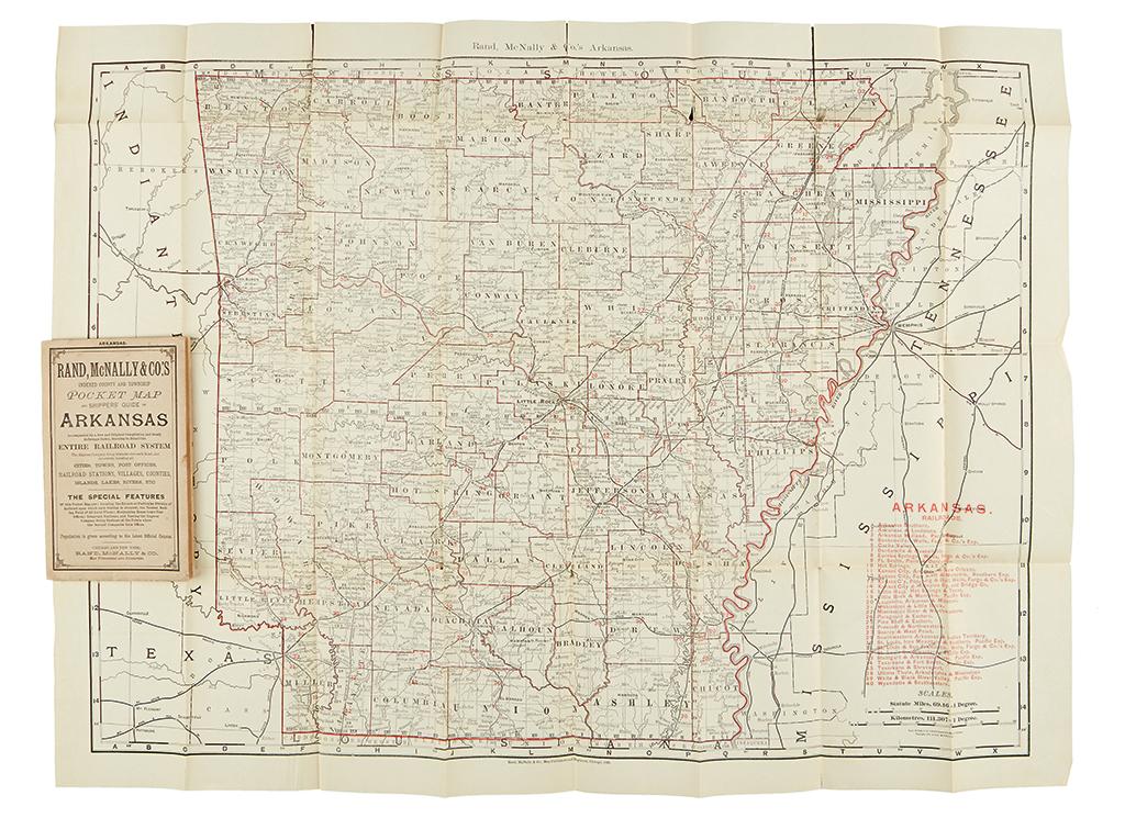 (ARKANSAS.) Rand McNally & Co. Rand, McNally & Co.s indexed county and township pocket map and shippers guide of Arkansas.