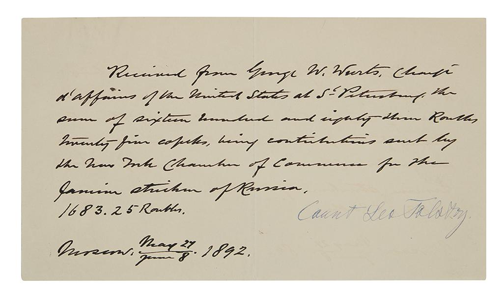 TOLSTOY, LEO. Document Signed, Count Leo Tolstoy,