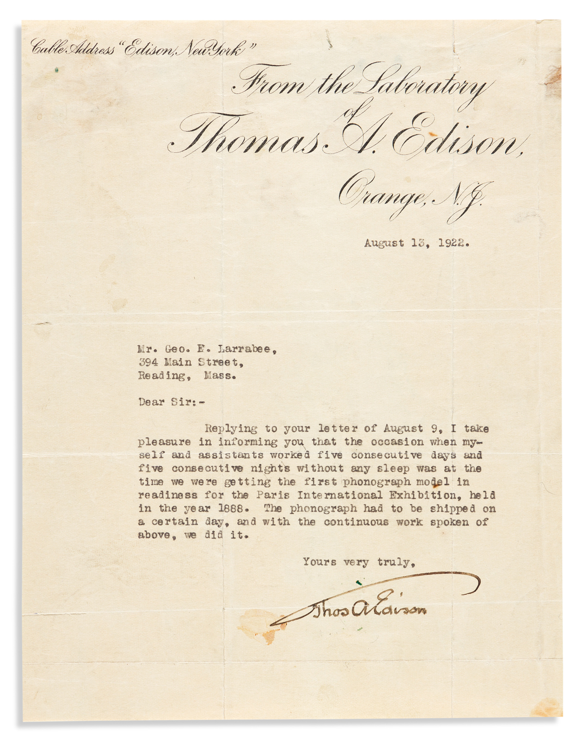 (INVENTORS.) EDISON, THOMAS A. Typed Letter Signed, to George E. Larrabee,
