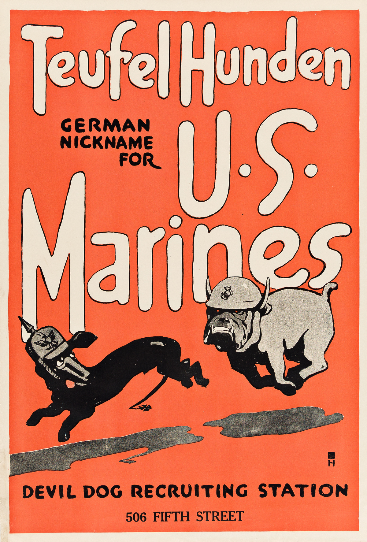 H. (DATES UNKNOWN).  TEUFEL HUNDEN / GERMAN NICKNAME FOR U.S. MARINES. 1917. 28x19 inches, 71x48¼ cm.