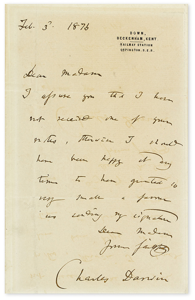 DARWIN, CHARLES. Brief Autograph Letter Signed, to Dear Madam: