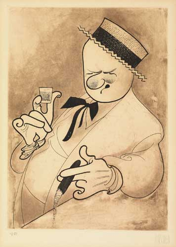 W.C. Fields. Etching, 13 1/4x9 3/4 inches, full margins. Uniformly age-toned. Signed and numbered 11/150 in pencil, lower margin.