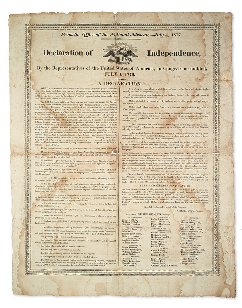 (DECLARATION OF INDEPENDENCE.) From the Office of the National Advocate.--July 4, 1817. Declaration of Independence.