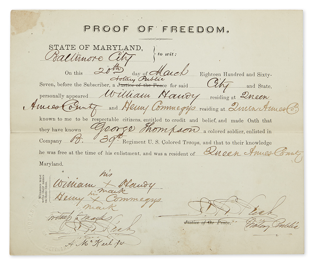(CIVIL WAR--AFRICAN-AMERICANS.) Group of 15 documents relating to Maryland African-Americans in military service.