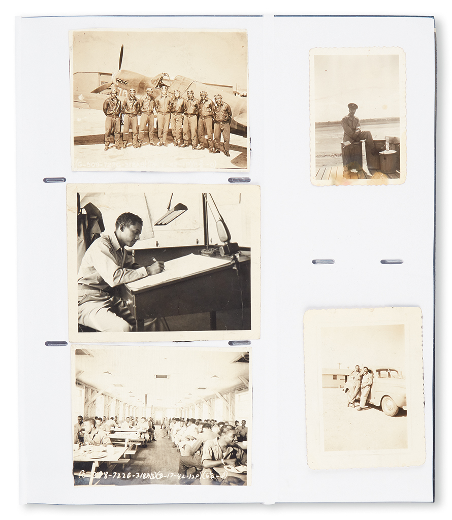 (MILITARY--WORLD WAR II.) TUSKEGEE AIRMEN. Scrapbook collection of 144 photographs of various size, taken at Tuskegee during the period