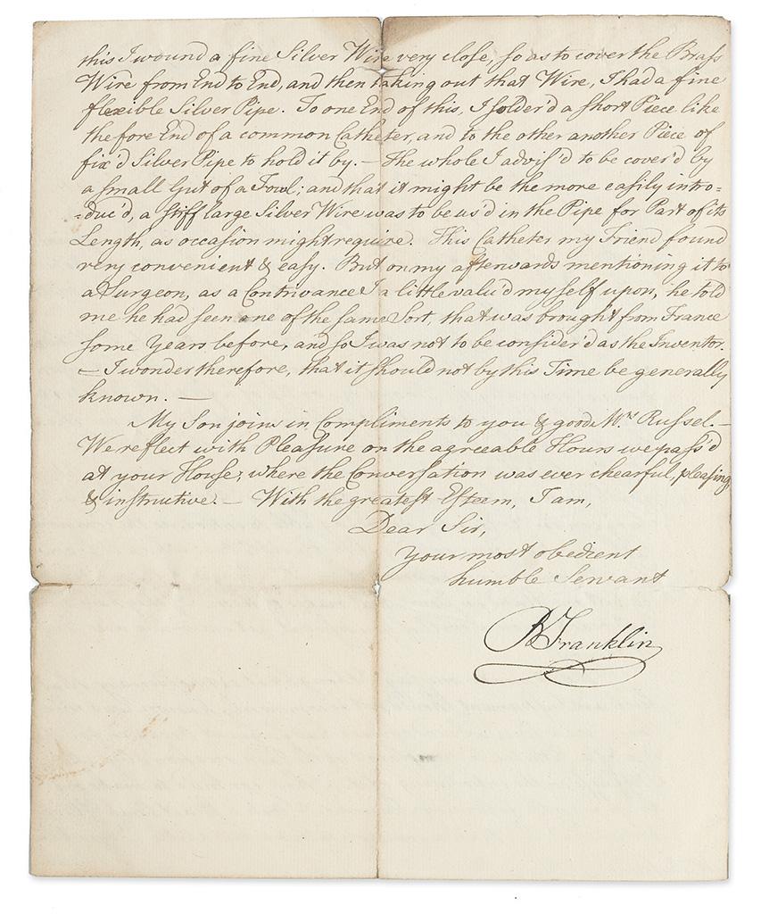 FRANKLIN, BENJAMIN. Autograph Letter Signed, BFranklin, to James Russell (Mr. Russel),