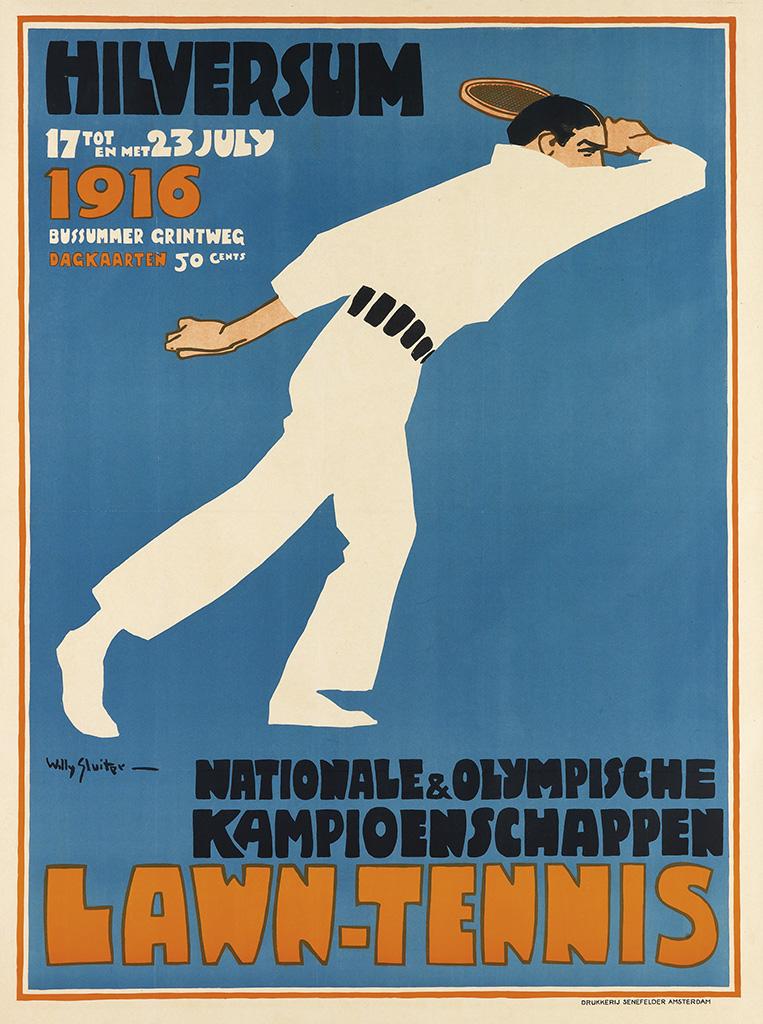 WILLY SLUITER (1873-1949). LAWN - TENNIS / NATIONALE & OLYMPISCHE KAMPIOENSCHAPPEN / HILVERSUM. 1916. 35x25 inches, 89x65 cm. Senefelde