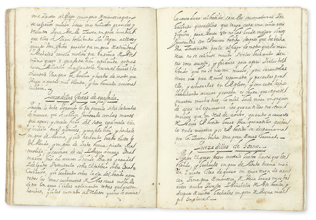 (MEXICAN COOKERY.) Early manuscript cookbook.