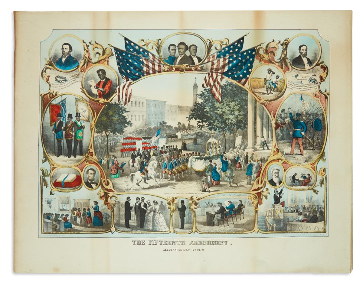 (RECONSTRUCTION.) Beard, James C.; artist. The Fifteenth Amendment, Celebrated May 19th 1870.