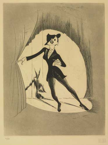 Judy Garland. Etching, 15 1/4x11 3/4 inches, full margins. Uniformly age-toned. Signed and numbered 77/150 in pencil, lower margi