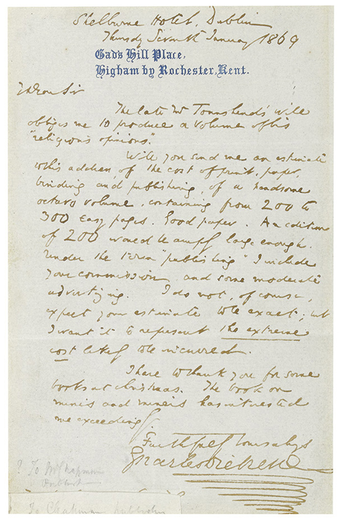 DICKENS, CHARLES. Autograph Letter Signed, to an unknown recipient (My Dear Sir),