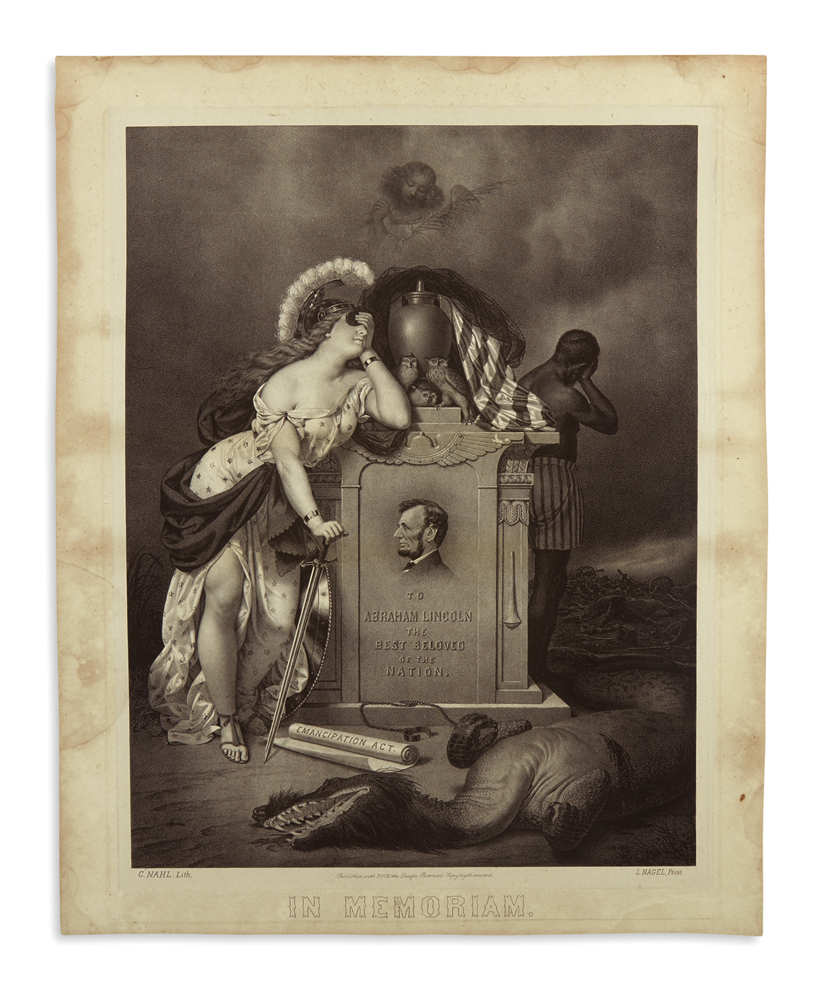 (PRINTS--MEMORIAL)-Nahl-C;-lithographer-To-Abraham-Lincoln-t