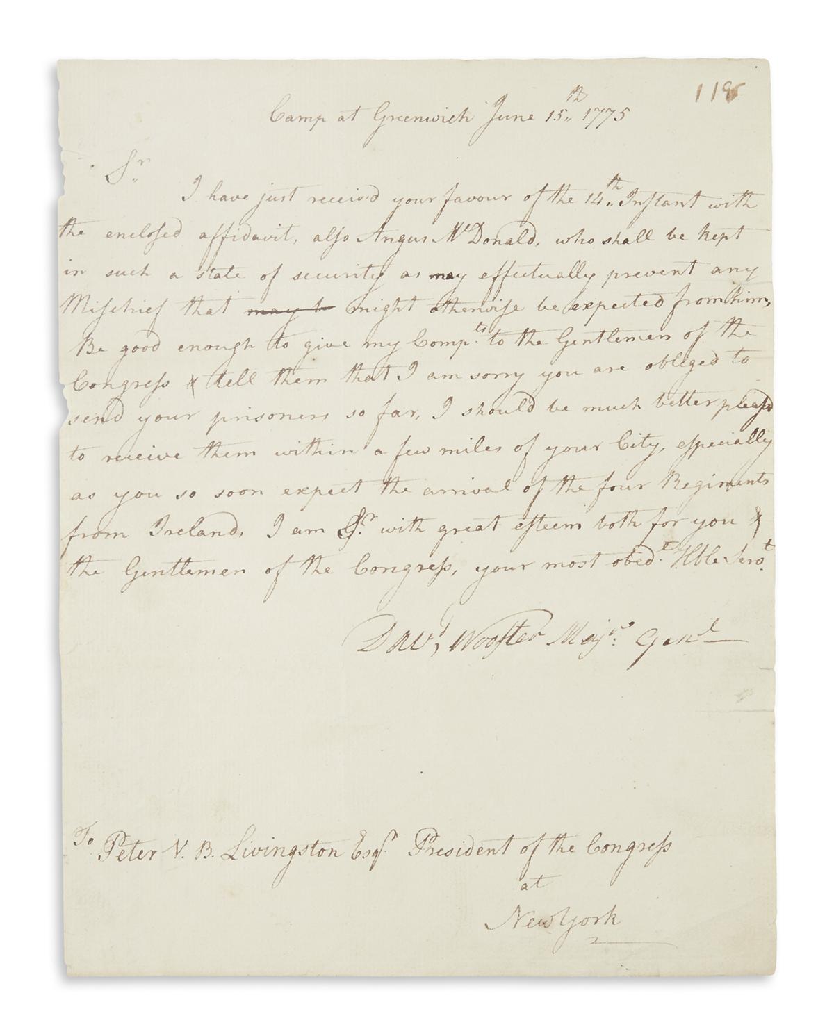 WOOSTER, DAVID. Autograph Letter Signed, Davd Wooster Majr Genl, to President of the Congress of New York Peter Van Brugh Livingst