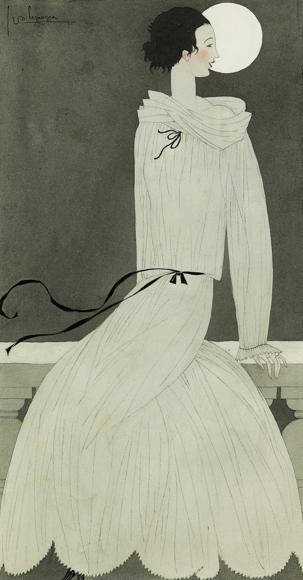 GEORGES LEPAPE. Woman in moonlight.