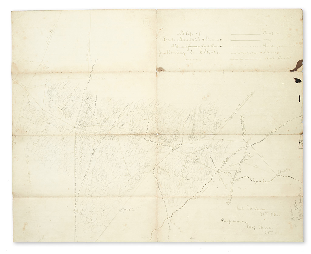 (CIVIL WAR--MAP.) Webster, George. Map of Roads, Mountains, Streams, Distances & Rail Road from Monterey to Stanton.