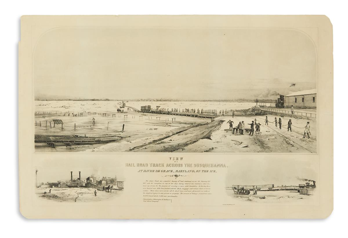 SCHELL, FRANCIS H., after. View of a Railroad Track Across the Susquehanna, at Havre de Grace, Maryland, on the Ice.
