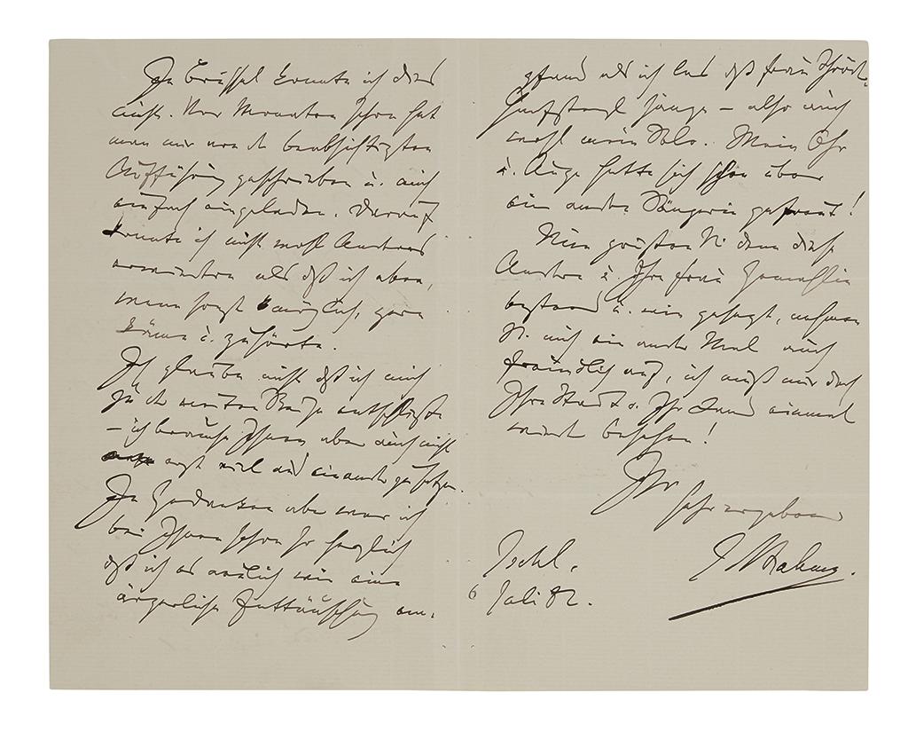 BRAHMS, JOHANNES Autograph Letter Signed, J Brahms, to Ferdinand Kufferath, in German,