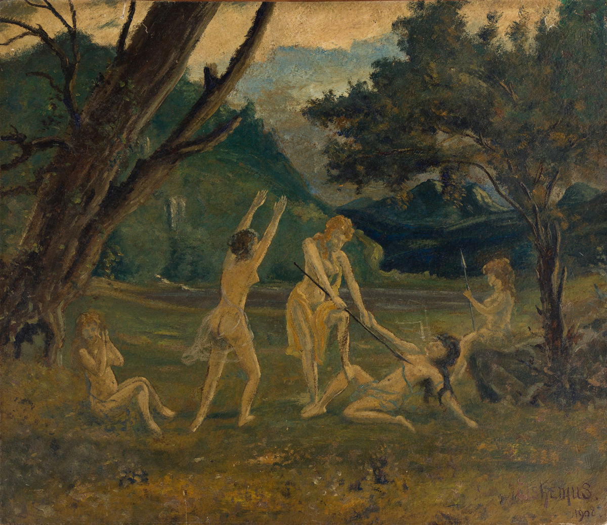 LOUIS EILSHEMIUS Landscape with Playful Nymphs.