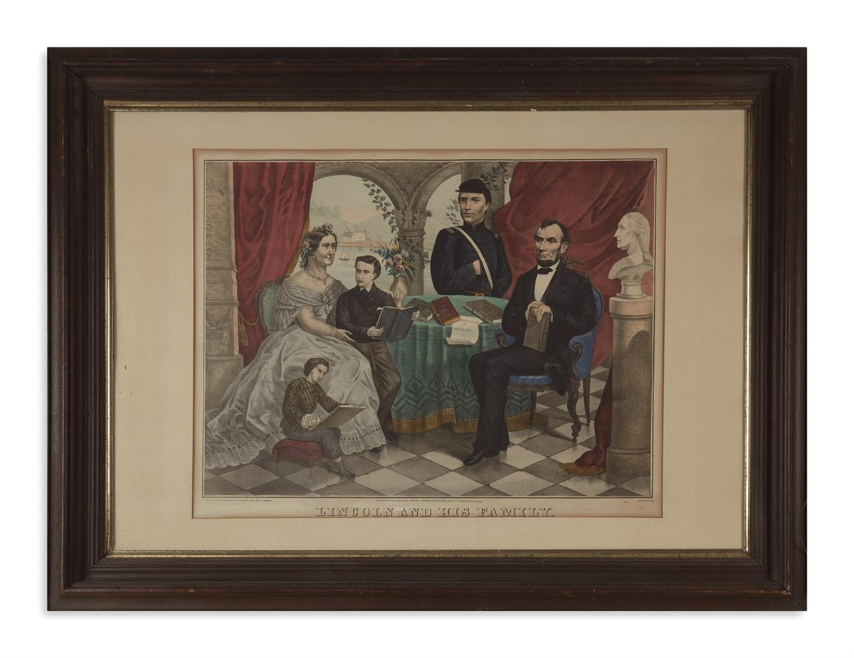 (PRINTS--FAMILY)-Group-of-5-framed-prints-of-Lincolns-family