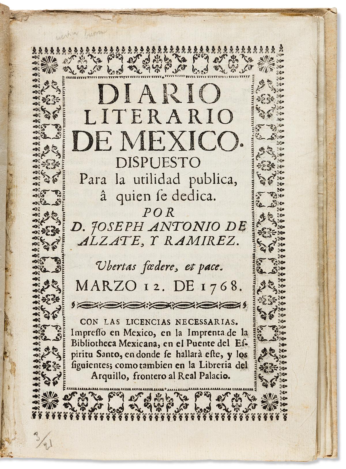 (MEXICAN-IMPRINT--1768)-José-Antonio-Alzate-y-Ramírez;-edito