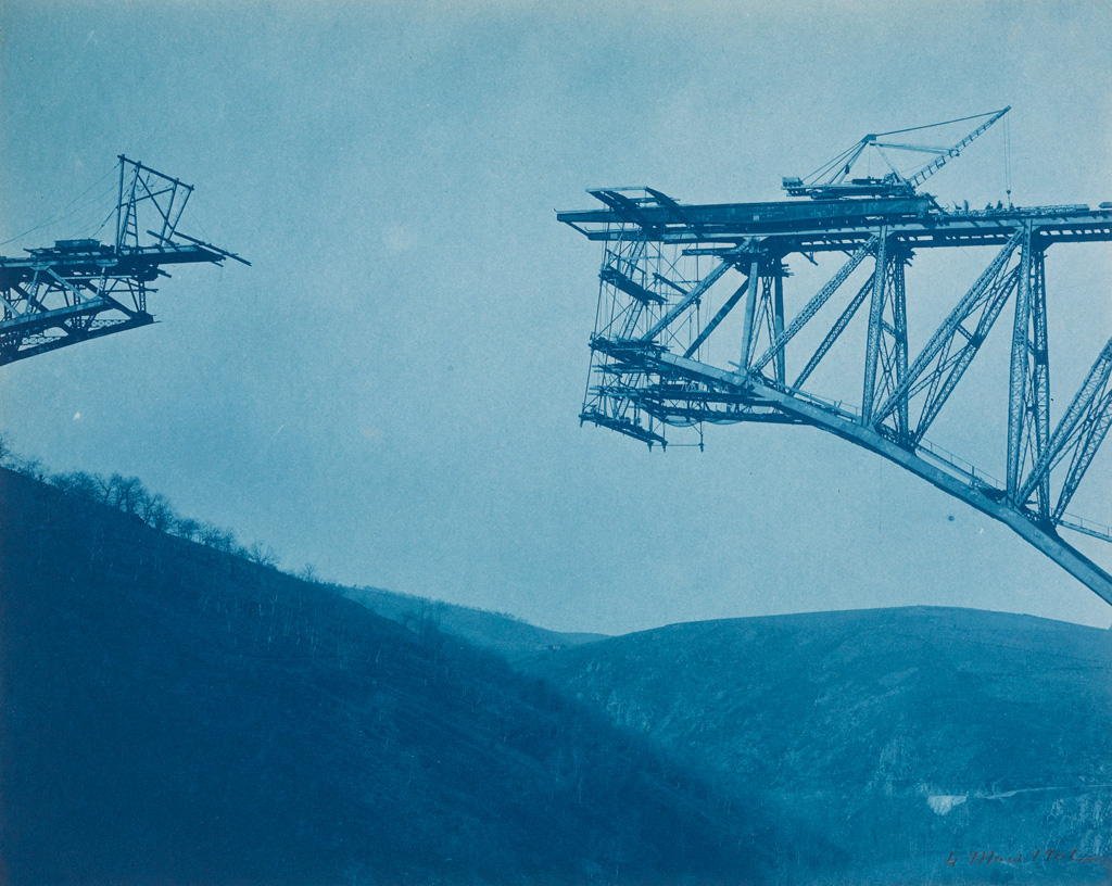 (CYANOTYPES/ENGINEERING) A selection of 20 stunning cyanotypes documenting the construction of a vast trestle bridge in the southern Fr