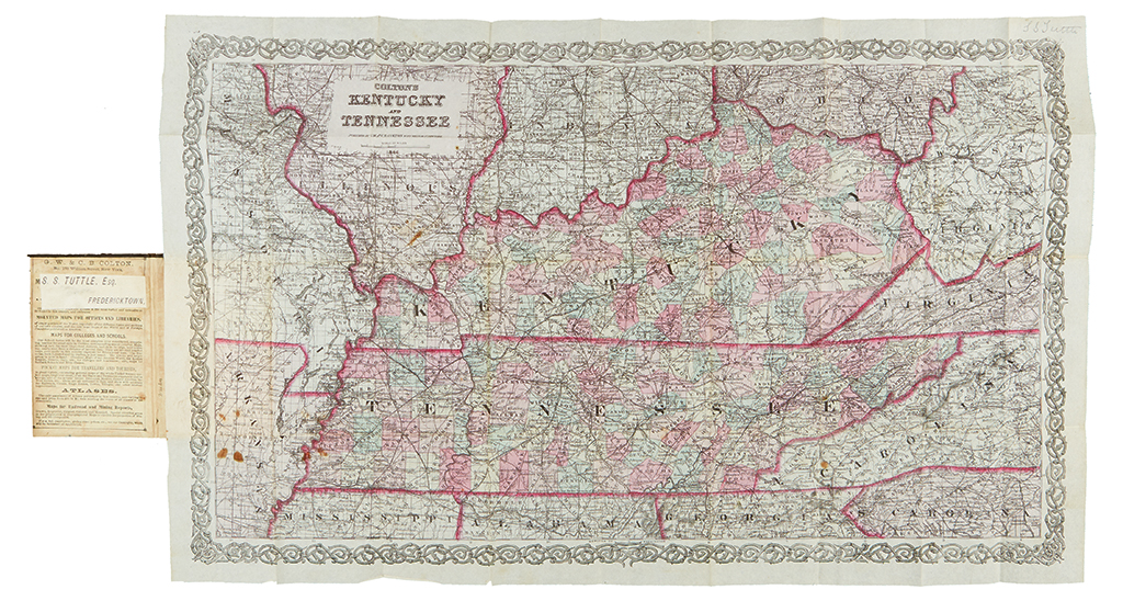 COLTON, GEORGE W. Coltons Kentucky and Tennessee.