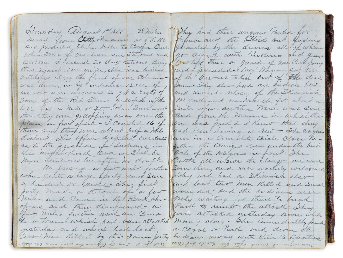 (WEST.) James W. Bentley. Grisly diary of a cavalry officer protecting emigrants on the Overland Trail.