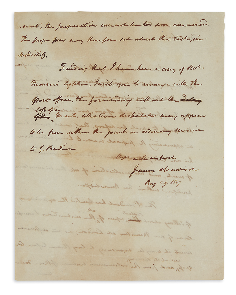 MADISON, JAMES. Autograph Letter Signed, as Secretary of State, to Daniel Carroll Brent (Dear Sir),