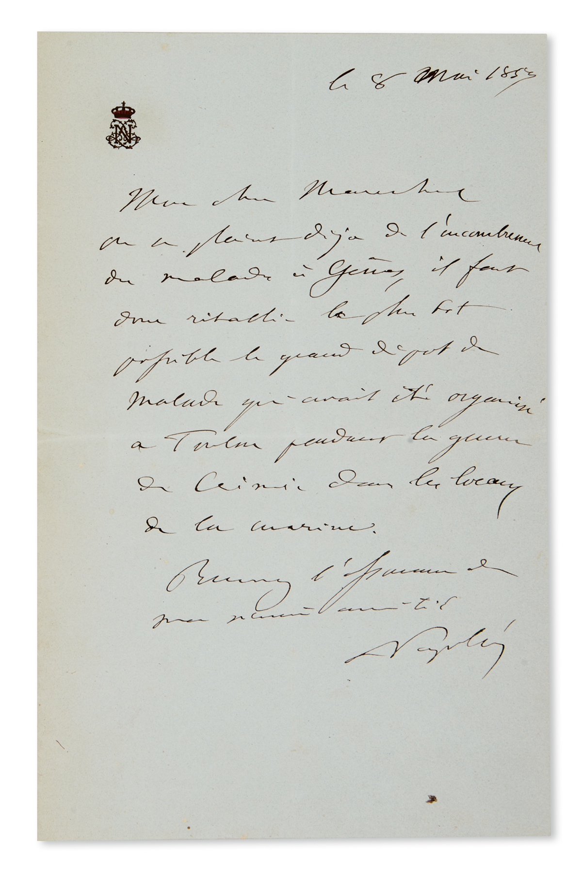 NAPOLÉON III. Autograph Letter Signed, Napoléon, to a Marshal of France (My dear Marshal), in French,