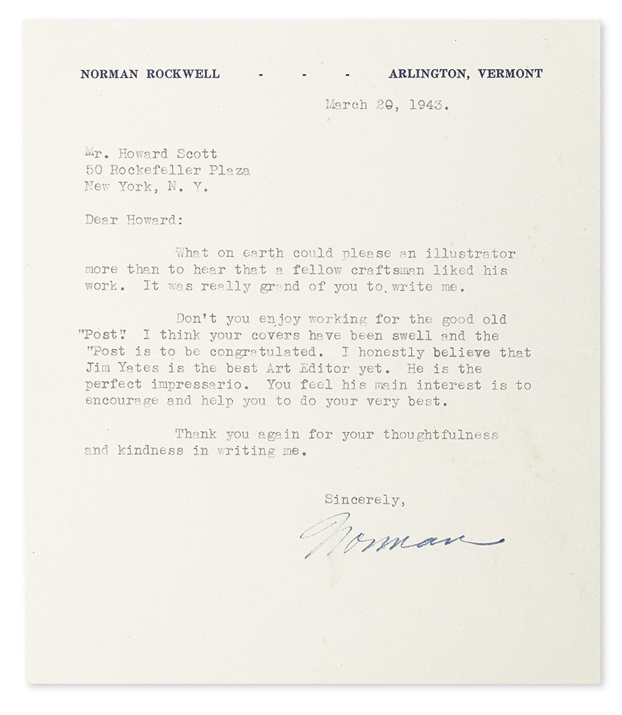 ROCKWELL-NORMAN-Two-Typed-Letters-Signed-Norman-to-fellow-ar