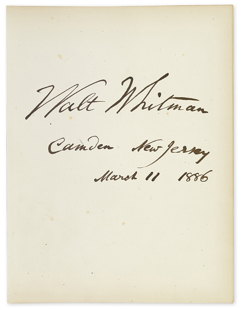 (ALBUM.) Autograph album containing over 50 items Signed, or Signed and Inscribed, by 19th-century American writers, artists, and other