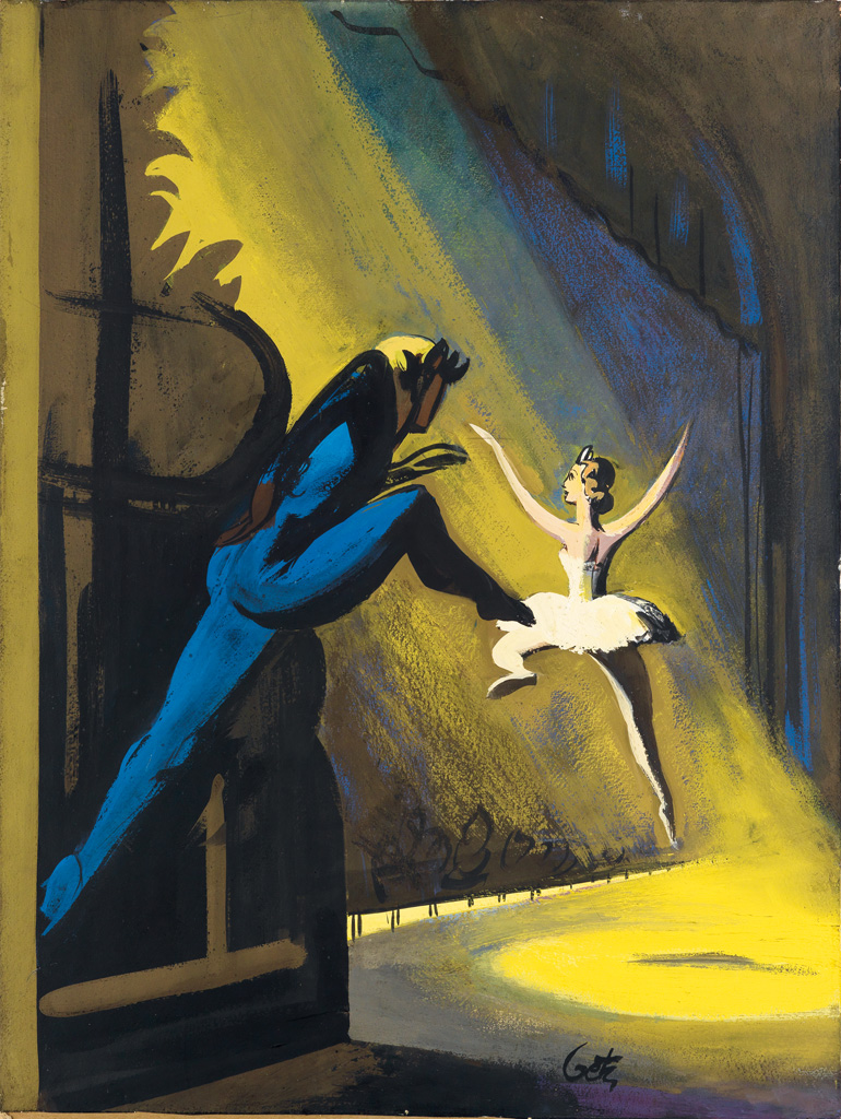 (THE NEW YORKER) ARTHUR GETZ. Two Dancers Leap onto Stage.