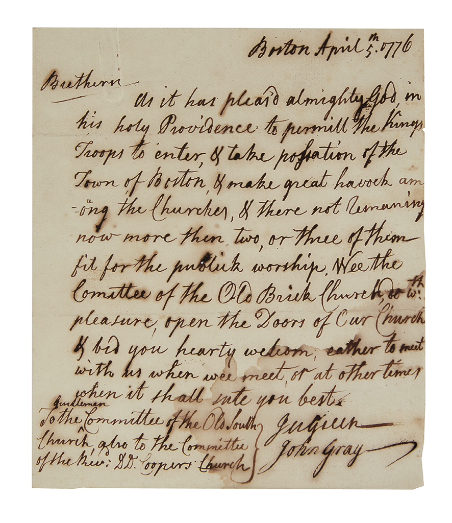 (AMERICAN REVOLUTION.) GRAY, JOHN. Autograph Letter Signed, as member of the Standing Committee of the First Church in Boston,