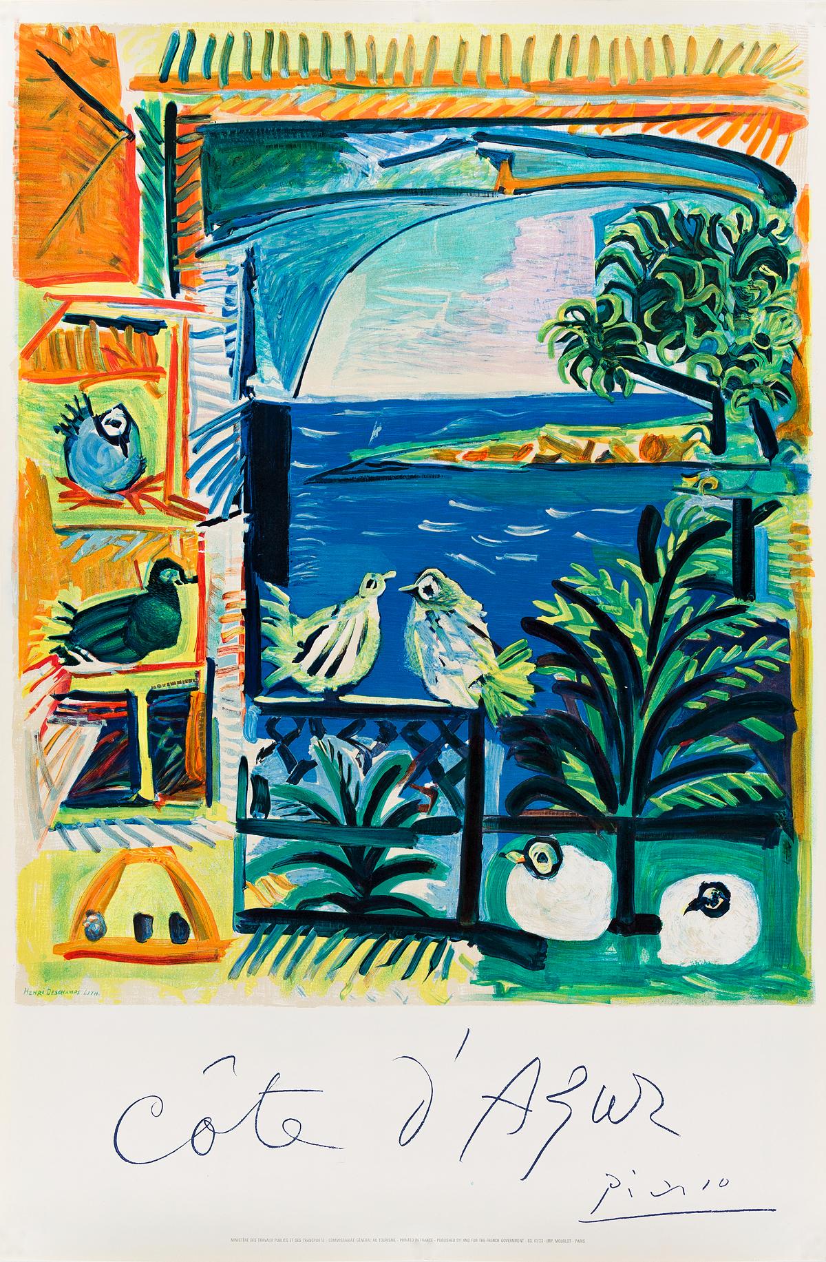 PABLO PICASSO (1881-1973). CÔTE DAZUR. 1962. 39x26 inches, 100x66 cm. Mourlot, Paris.