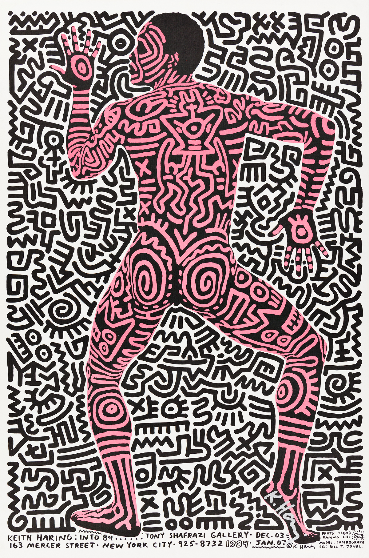 KEITH HARING (1958-1990). KEITH HARING : INTO 84. 1983. 34x22 inches, 88x57 cm.